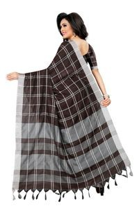 Mamta Brown Cotton Linen Blend Woven Saree with Blouse