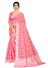 Mamta Pink & White Cotton Blend Woven Saree with Blouse
