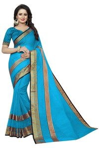Mamta Blue Cotton Silk Woven Saree with Blouse