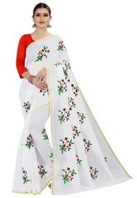 Mamta White Art Silk Plain Saree with Blouse