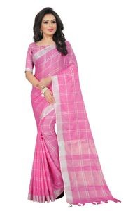 Mamta Pink Cotton Linen Blend Woven Saree with Blouse