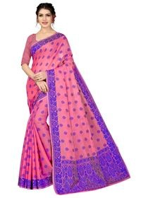 Mamta Pink Cotton Blend Woven Saree with Blouse