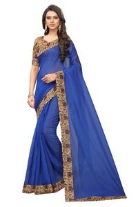 Mamta Blue Art Silk Plain Saree with Blouse