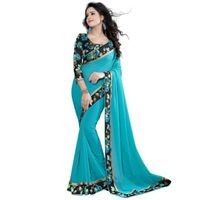 Mamta Light Blue Poly Georgette Embroidered Saree with Blouse