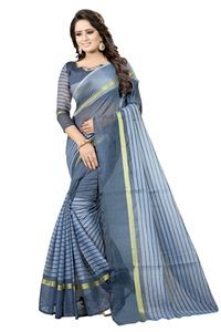 Mamta Grey Cotton Silk Woven Saree with Blouse