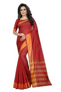 Mamta Red Cotton Silk Woven Saree with Blouse