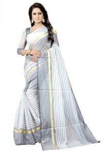 Mamta White Cotton Silk Woven Saree with Blouse