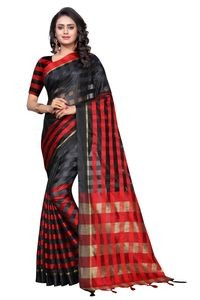 Mamta Red & Black Cotton Silk Woven Saree with Blouse