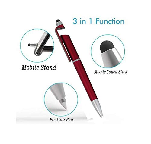 3 IN 1 TOUCH BALL PEN, MOBILE STAND AND MOBILE SCREEN WIPE PEN (Set Of 2)