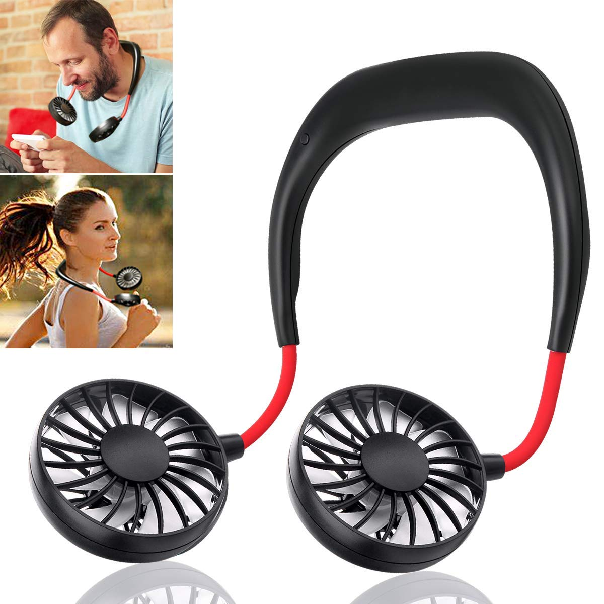 Mini Personal Cooling Fan Neck-Hanging Double Fan USB Rechargeable