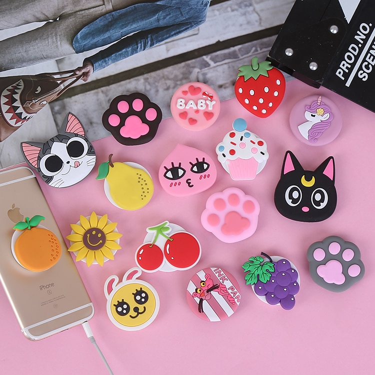 Soft Silicone Pops Phone Holder Cartoon Animal Cute Cellphone Flexible Grip Finger Ring Expanding Stand Socket(multi)