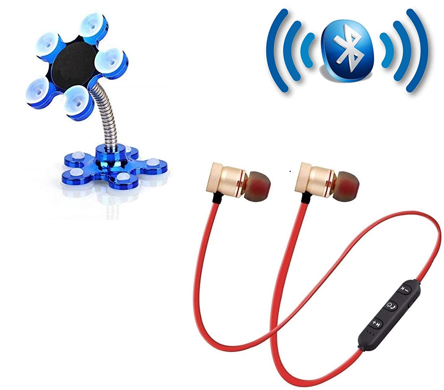 Roeid VIP Sucker Stand Mobile Holder 360�Rotatable & Magnetic Wireless Bluetooth Earphones Headset with Mic