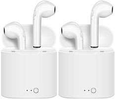 I7 TWS Earbuds Headsets Double Twins Stereo Music Earphone Bluetooth Headset with Mic (White, in The Ear) Pack of 2