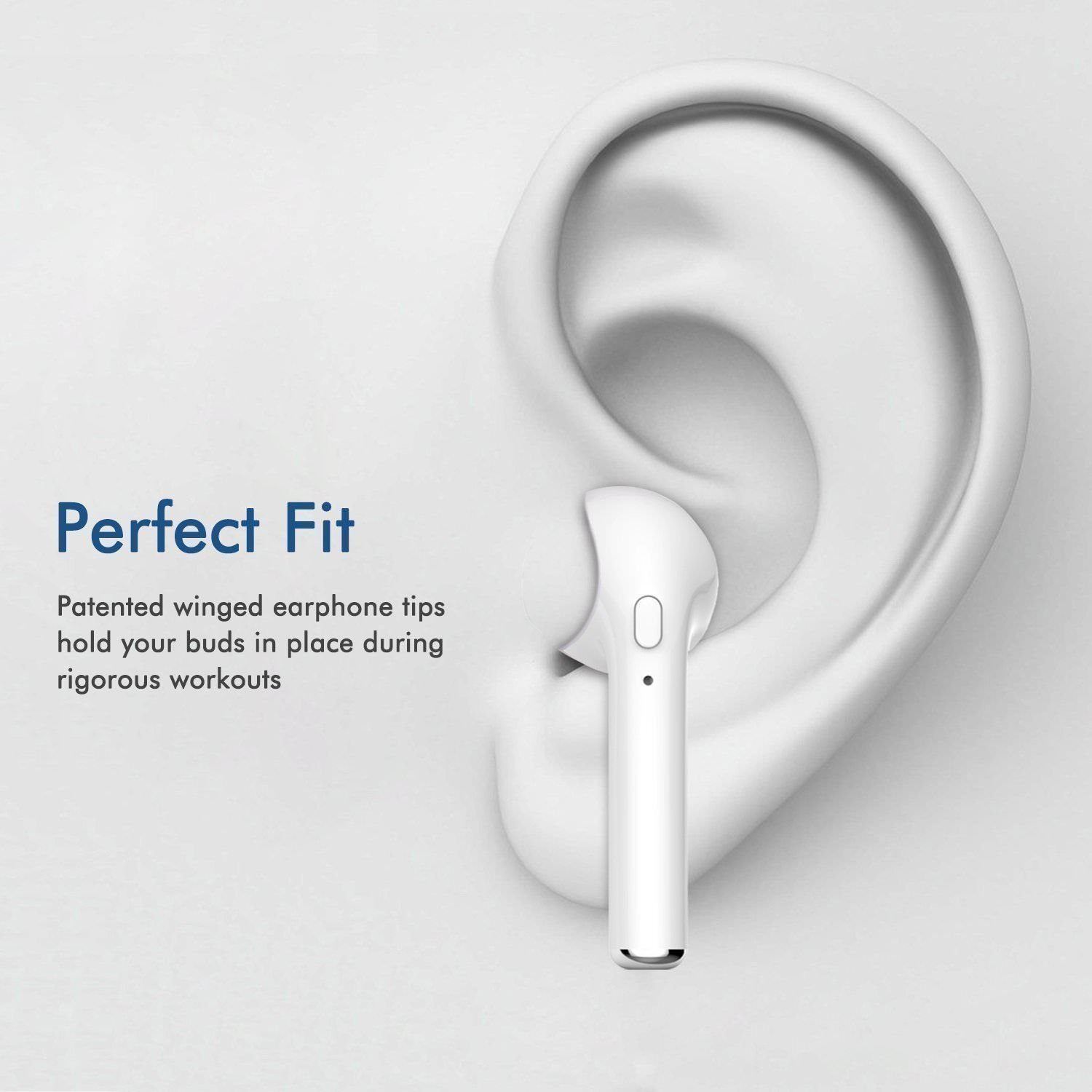 I7 Bluetooth Headset With Mic For All Bluetooth Compatible Devices - White