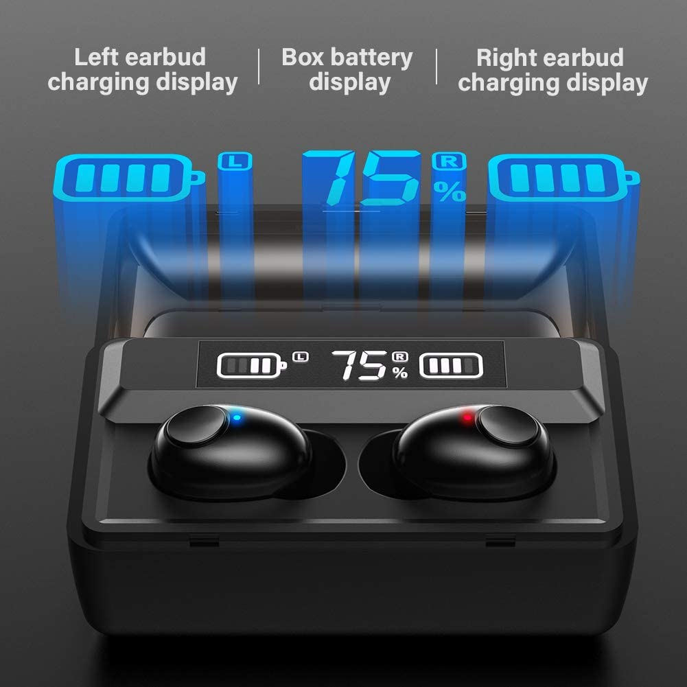 Roeid T8 True Wireless Earbuds with Microphone, Waterproof TWS Stereo Earphones in-Ear Headset, Bluetooth Headphones with Smart LED Display Charging Case for Sports Running Workout