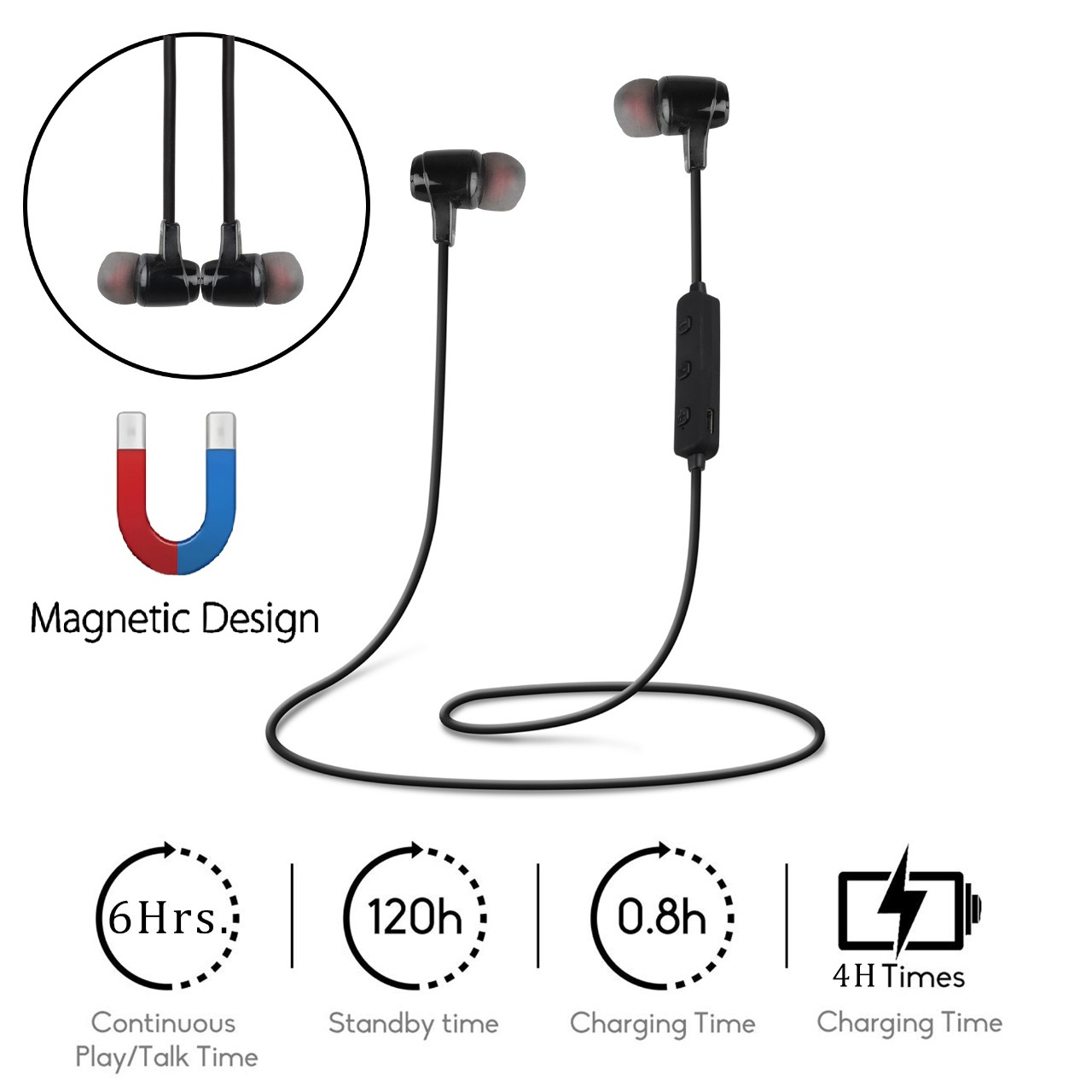 Roeid� SL-16B Wireless Magnetic  Bluetooth Neckband Earphones Headset with Mic (Black)