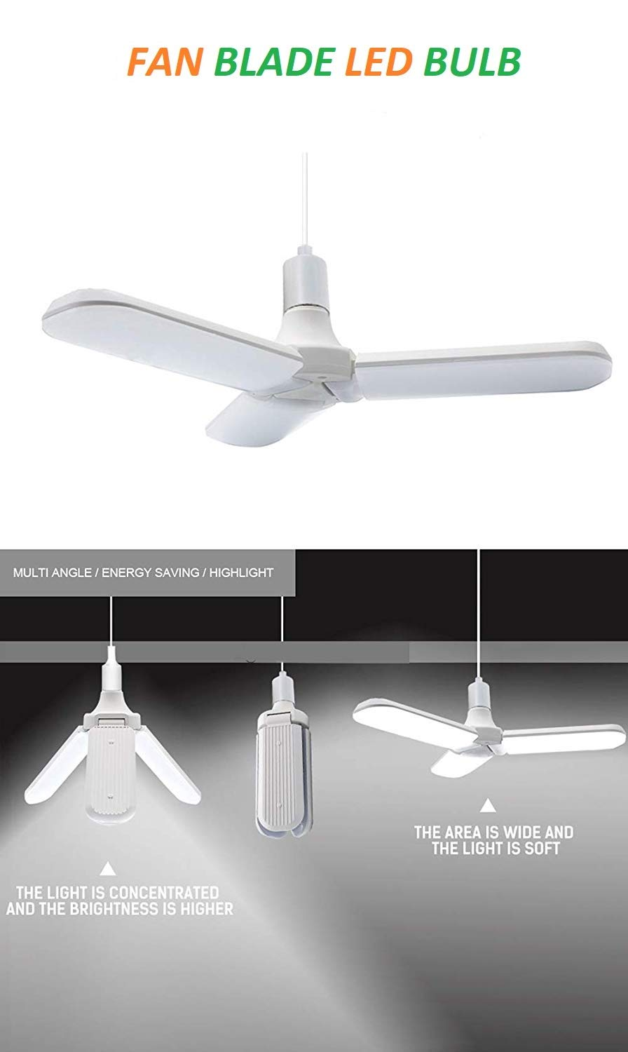 New Fan Shape Blade Design LED Bulb for Home and Office - White - (Pcs-1)