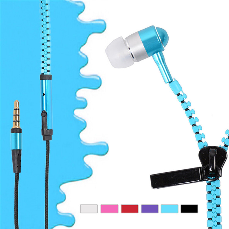 .5mm Glow In The Dark Metal Earphones Earbuds With Mic Glowing Zipper Headset Luminous Light Stereo Handsfree Earphone