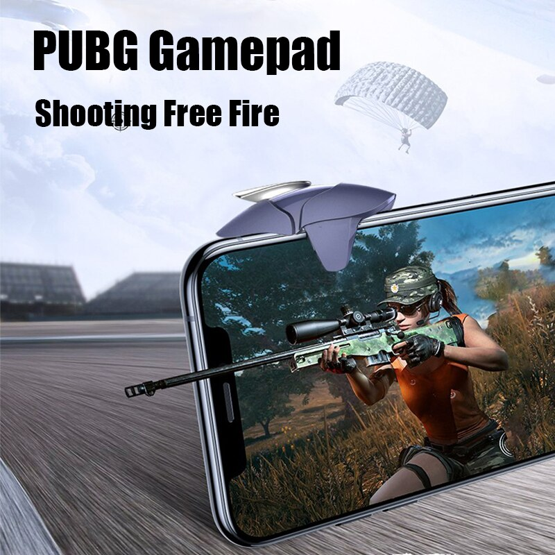 Blue Shark PUBG Game Controller Gamepad Joystick L1 R1 Metal Trigger Free Fire Shooting Gamepad For IOS Android Mobie Phone