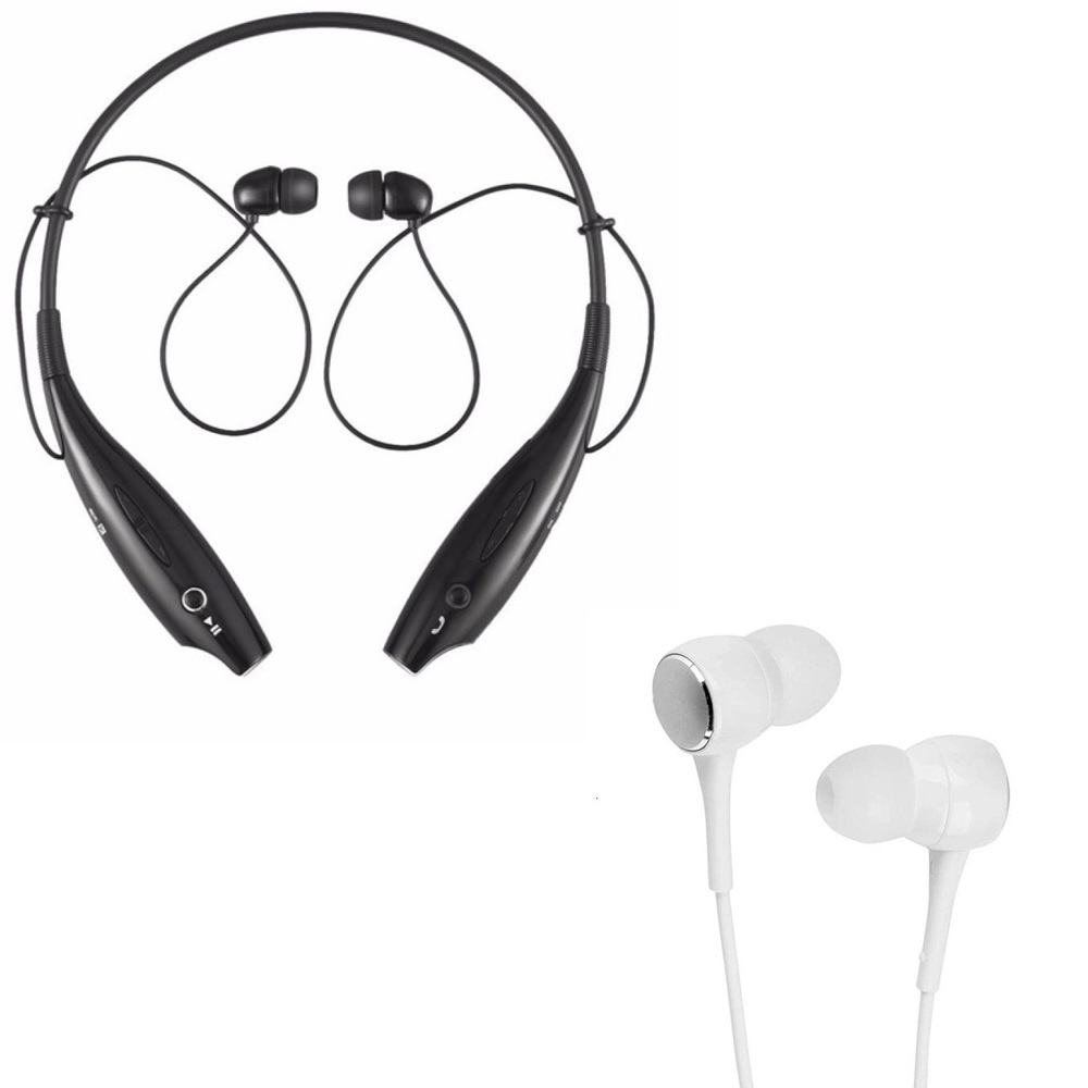 Freckle HBS-730 Neckband Bluetooth Headphones Wireless Headsets With P1000 Earphones Wired Stereo Bass Head Headsets Earbuds.