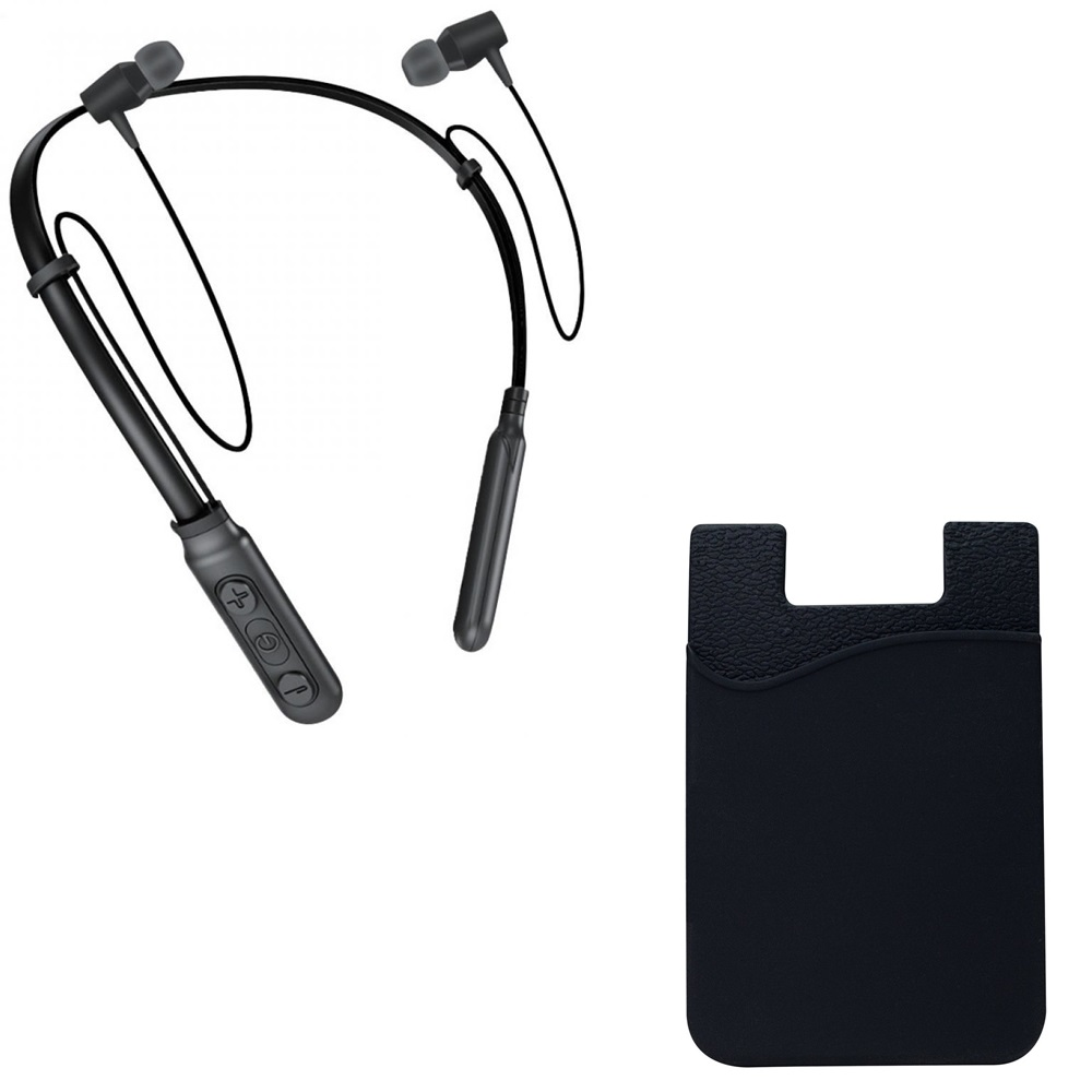 Freckle B-11 Wireless Magnetic Bluetooth Neckband Earphones Headset With Phone Wallet with Pocket for Credit Card,Business Card.