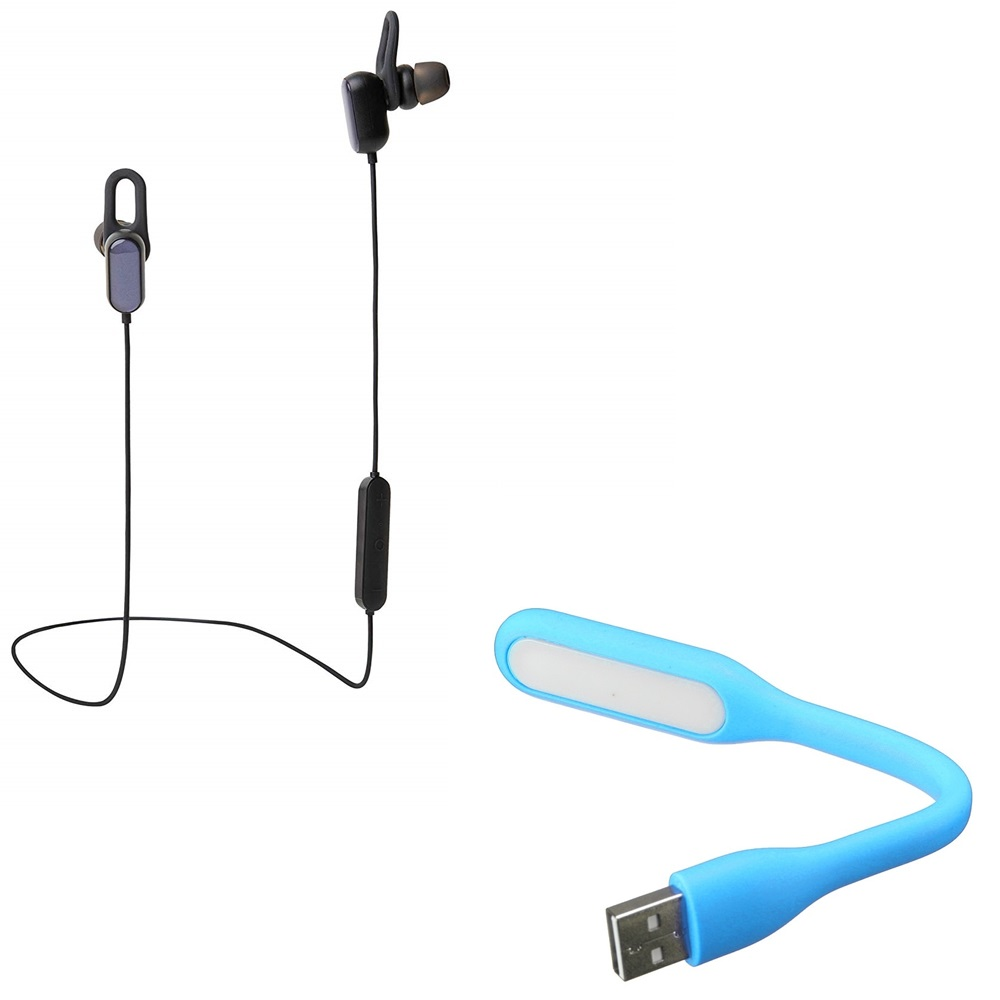 Freckle Sports Bluetooth Earphones Dynamic Bass Sweat Proof Headset With Portable Flexible USB LED Light Lamp for USB Device.
