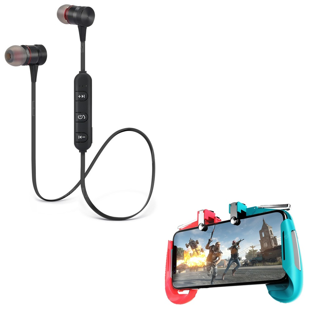 Freckle Wireless Sport Bluetooth Magnet Headset HandsFree Headphone With AK16 Phone Game Controller Gamepad Joystick Aim Triggers