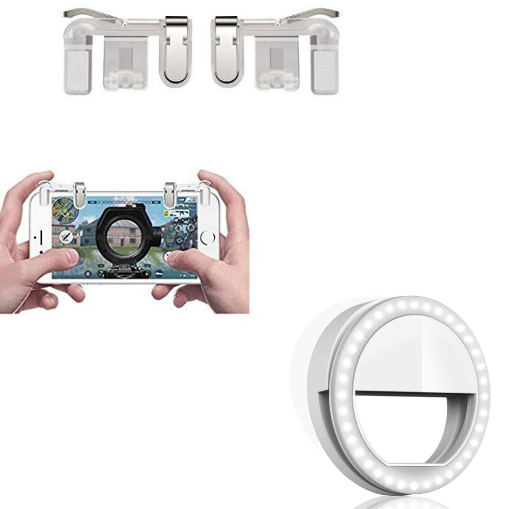 Freckle Games Controller Metal Transparent Trigger Fire Button Joystick With White Selfie Ring Light with 3Modes and 36 LED Light