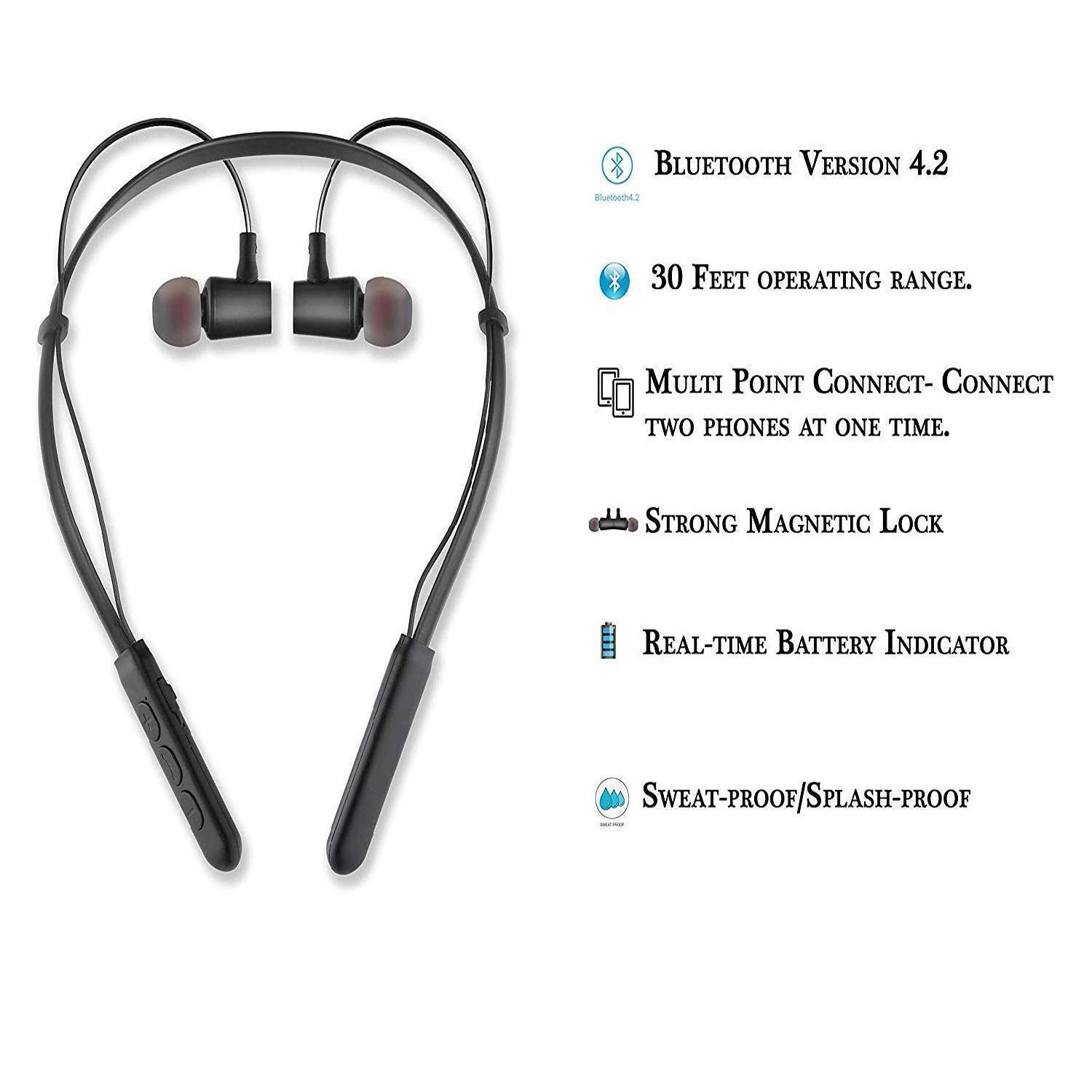 Freckle B11 Wireless Bluetooth Headset/Headphone with Mic Compatible with All Smartphones (Black)