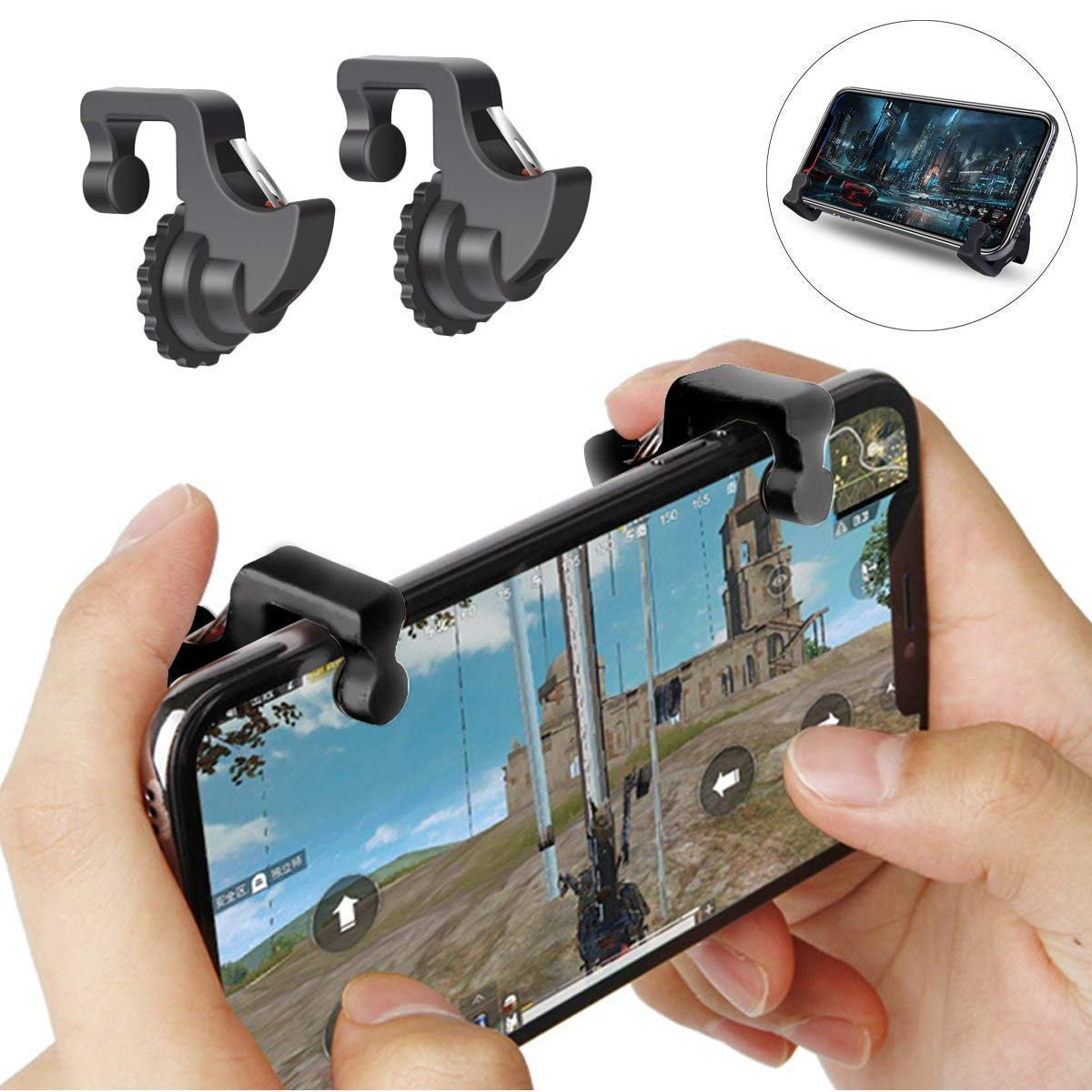 Freckle PUBG Mobile Game Controller, Gaming Trigger Fire Button Aim Key With Mini Magnetic Car Dashboard Mount Mobile Holder.
