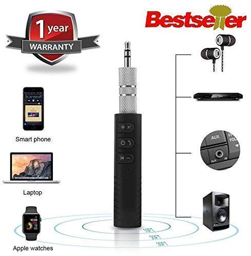 Rednix BT450 Wireless Bluetooth Receiver 3.5mm Jack Stereo Bluetooth Audio Music Receiver Adapter for Speaker Car Aux Hands Free Kit Compatible with All Android, iOS and iOS Devices - Assorted Colour
