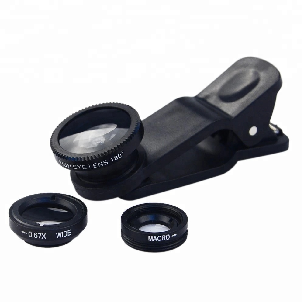 Rednix 3in1 Mobile Camera Lens 180 Degree Fisheye Lens+0.67X Wide Angle+10x Macro Lens with Clip Holder for All Smartphones.