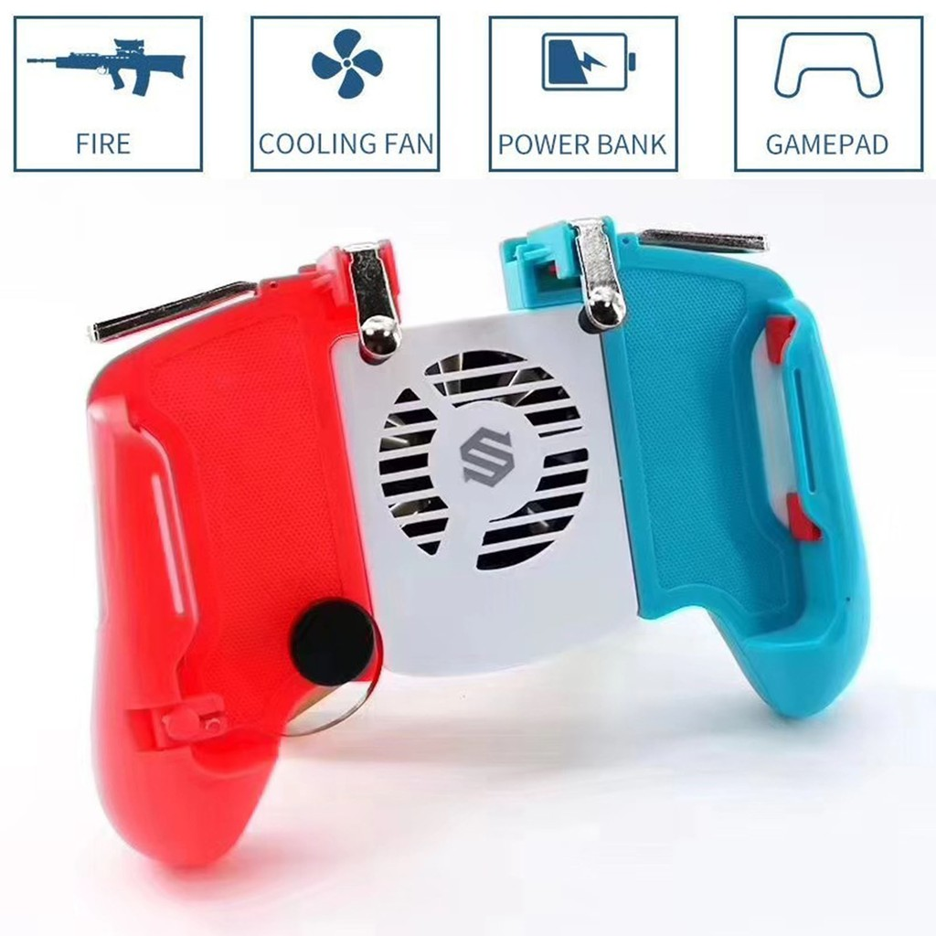 Rednix Mobile Game Controller for PUBG Gamepad Sensitive Shoot and Aim Keys Joysticks for iOS and Android (Gamepad Red-Blue)