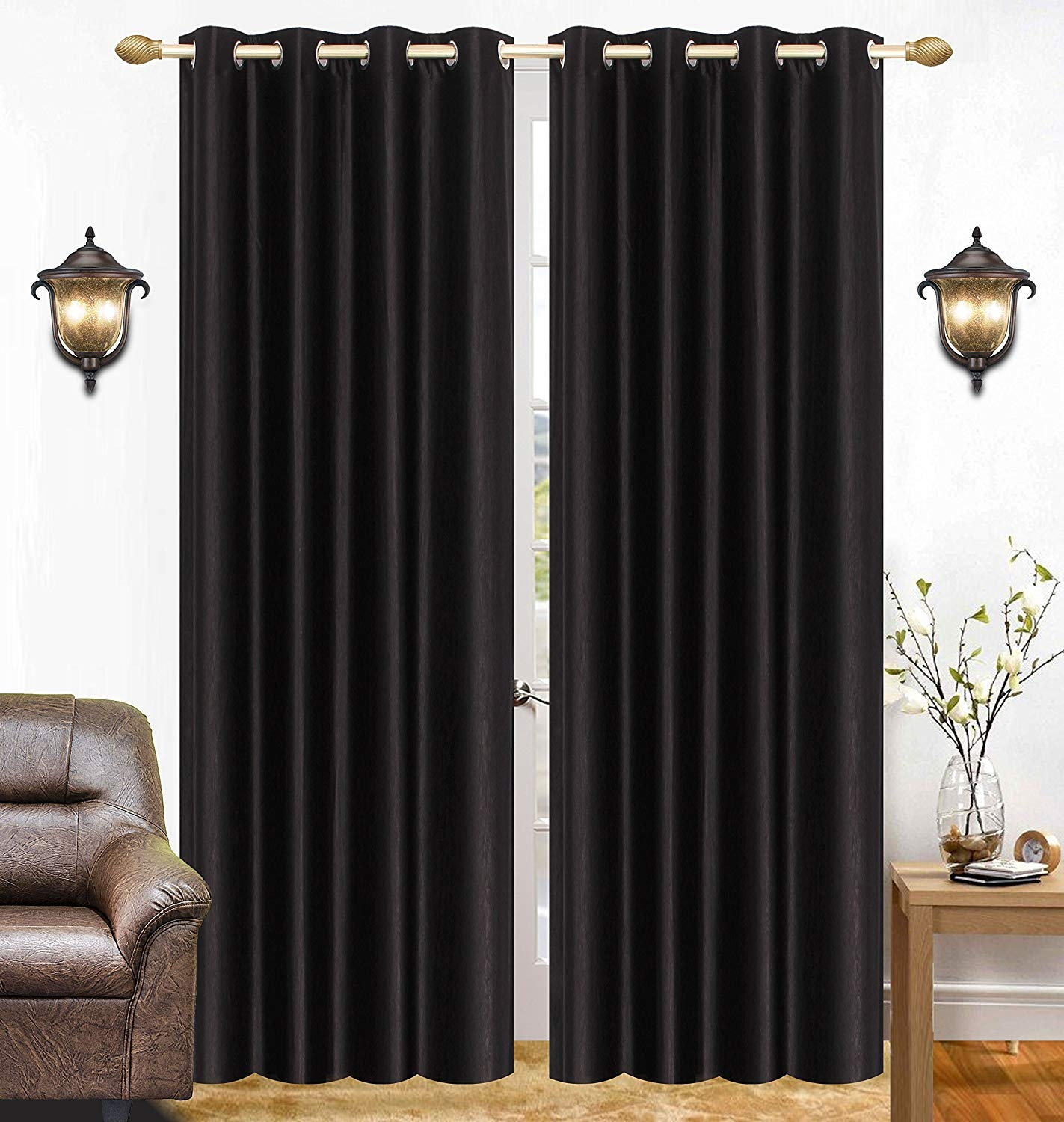 Homelogy Single Piece Crush Curtain Black