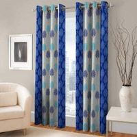 Homelogy Pack of 2 Supremo Leaf Blue  Curtain