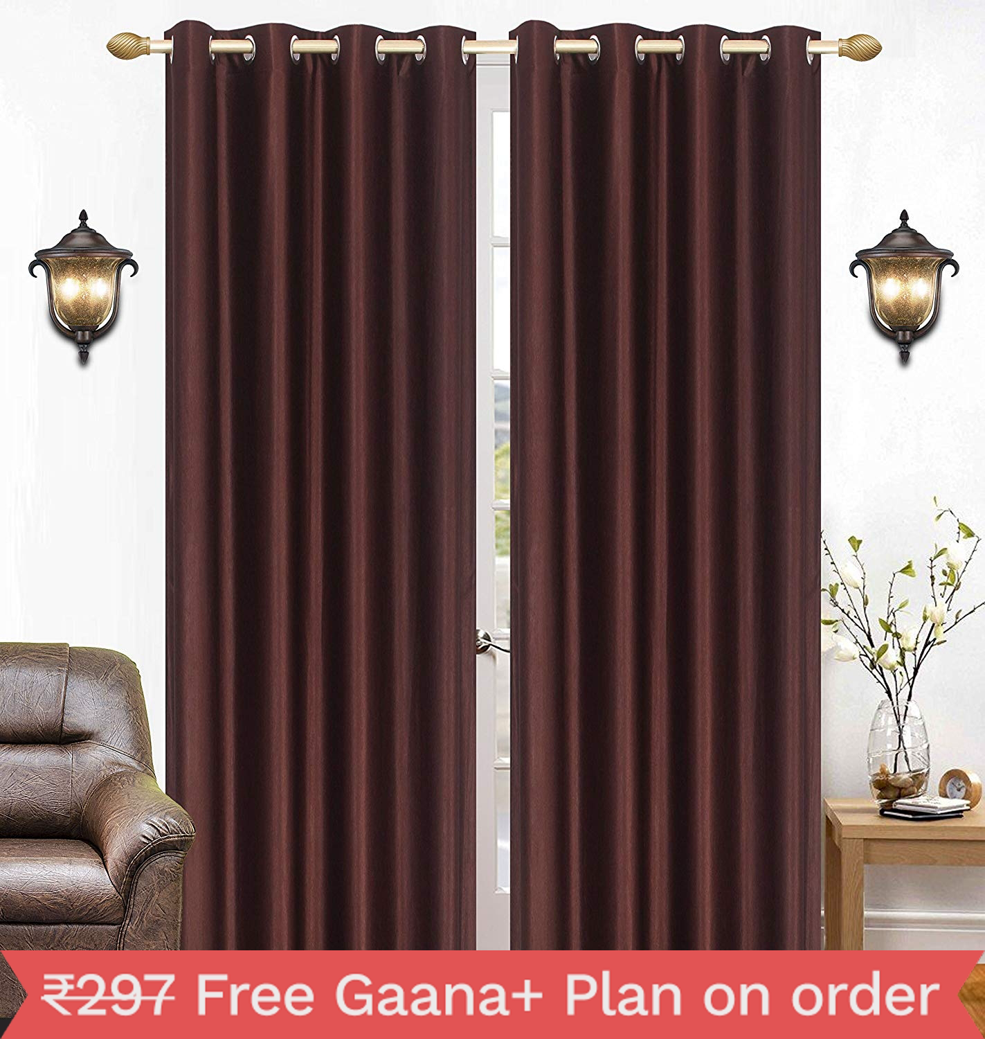 Homelogy Single Piece Crush Curtain Brown