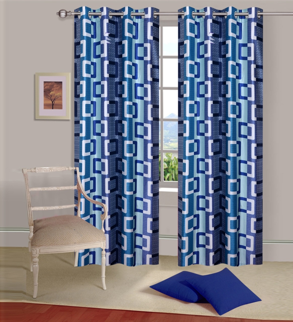 Homelogy Single Piece Supremo Box Blue  Curtain