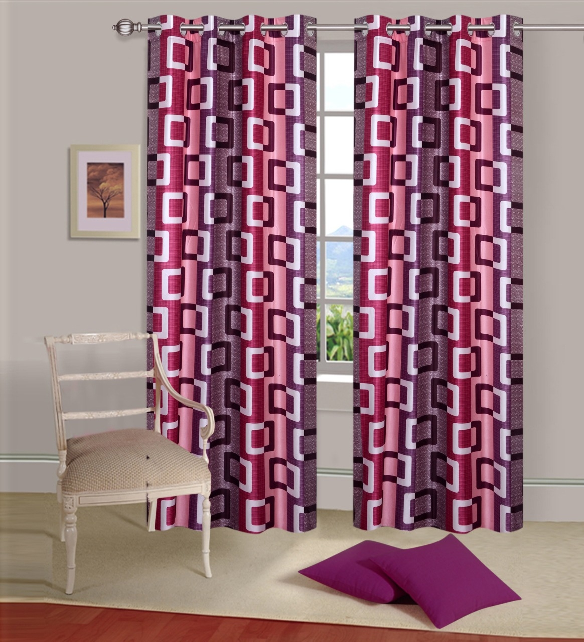 Homelogy Single Piece Supremo Box Pink  Curtain