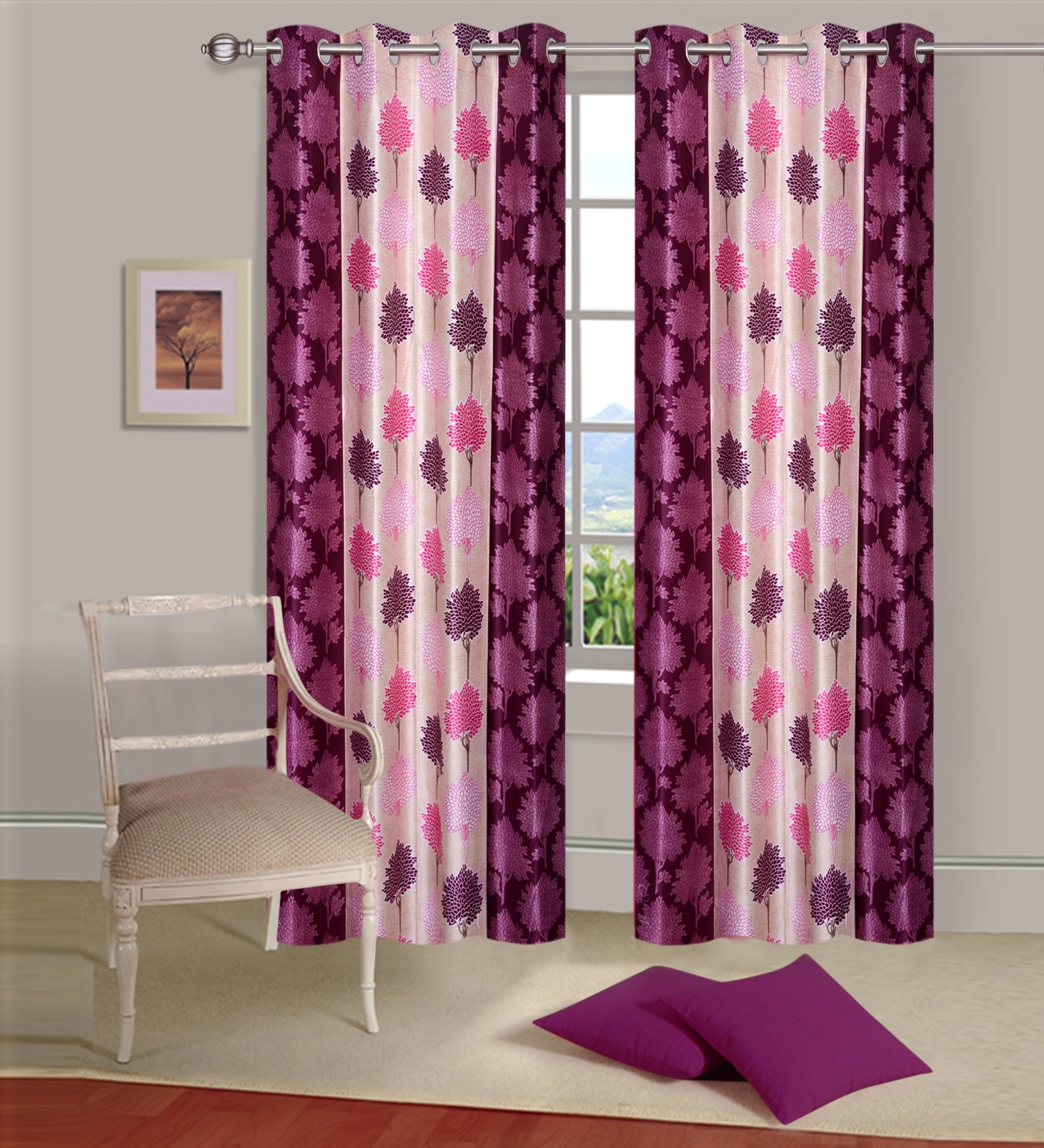 Homelogy Pack of 2 Supremo Leaf Pink  Curtain