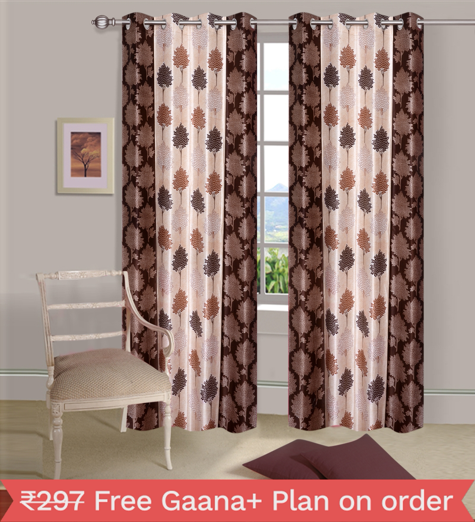 Homelogy Single Piece Supremo Leaf Brown  Curtain