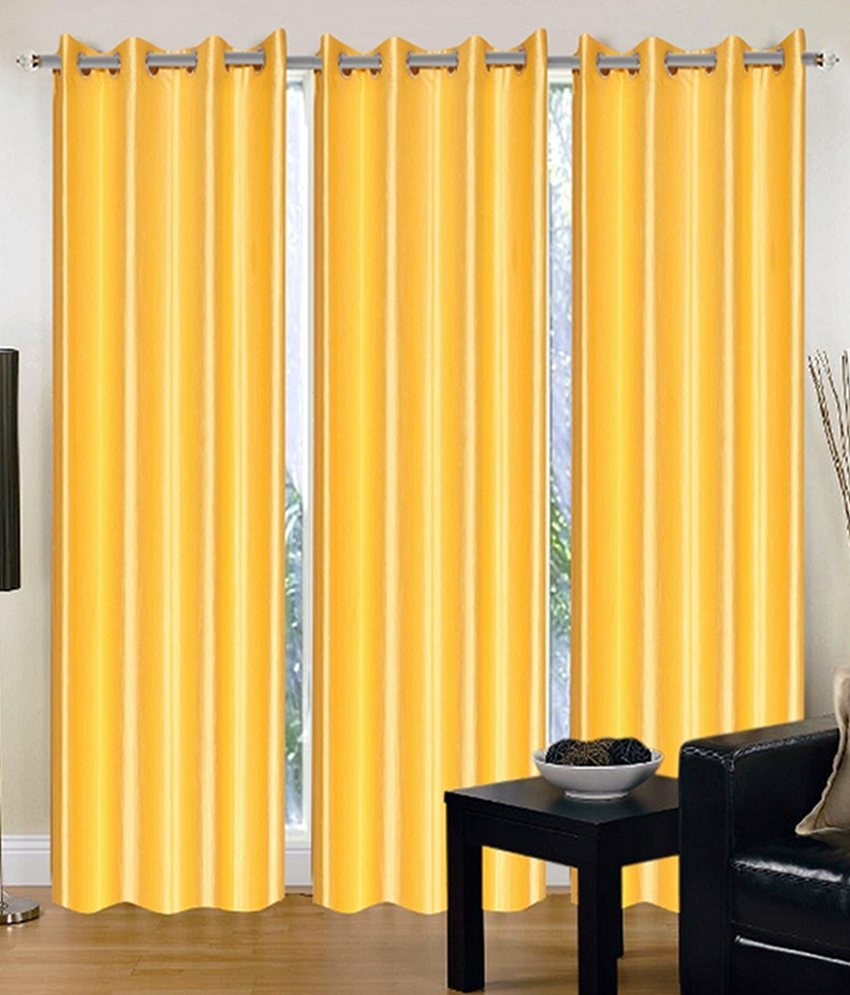 Homelogy Pack of 2 Crush Curtain Yellow