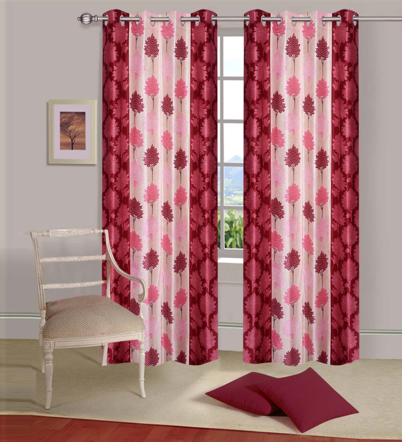 Homelogy Single Piece Supremo Leaf Maroon  Curtain
