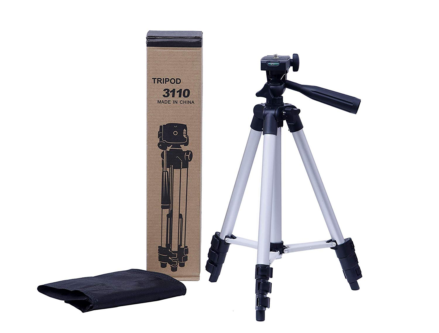 Sami 3110 Foldable Camera Tripod With Mobile Clip Holder Bracket, Fully Flexible Mount Cum Tripod, Standwith 3D Head & Quick Release Plate (Black)