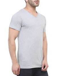 GRABIN Men Gray Solid V-Neck T-shirt