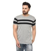 GRABIN Men's Grey Colour with Black Stripes Round Neck Half Sleeve T-Shirt's For Men