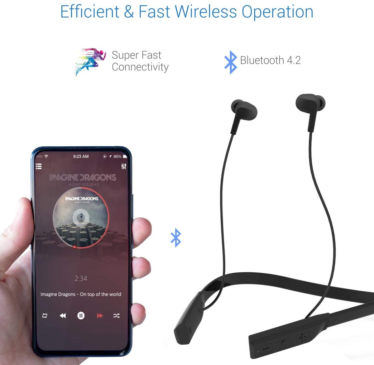 Portronics Harmonics 220  HD Stereo Wireless Bluetooth Sports Headset with High Bass, Powerful Audio Drivers Comfortable Fit, for All Android & iOS Devices, (POR-559-Black,POR-560-Grey)