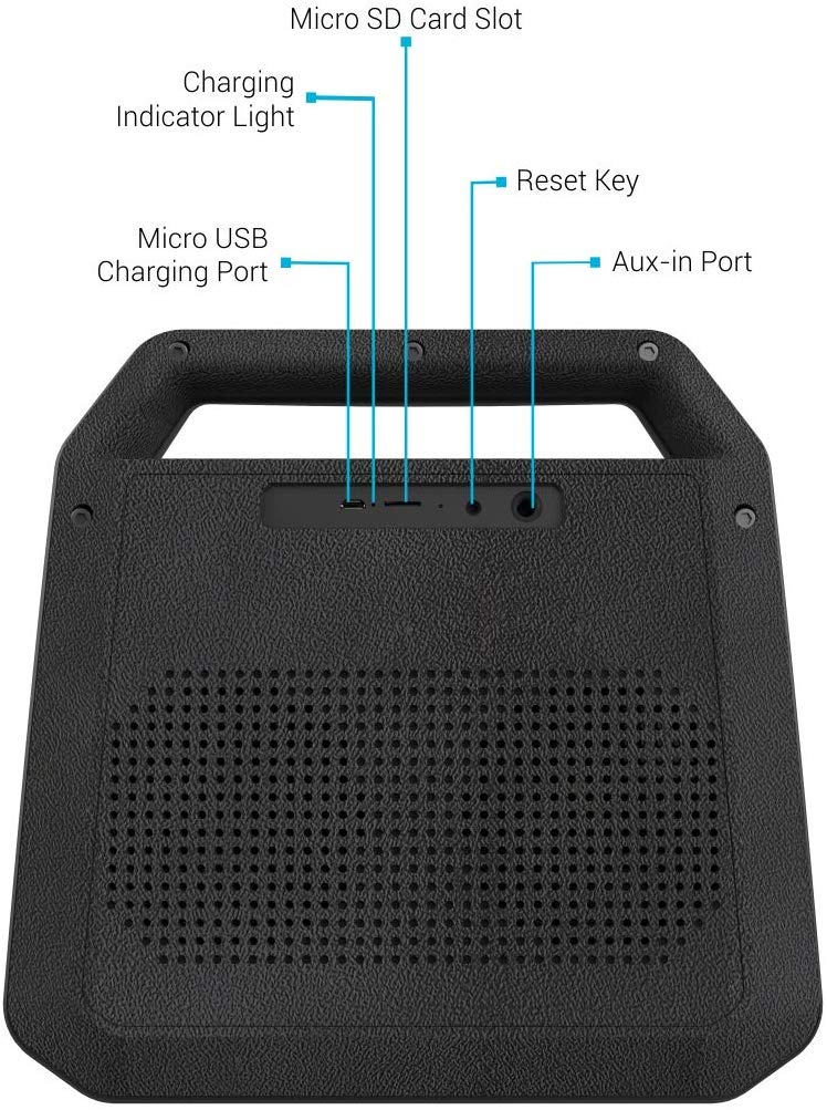 Portronics Roar POR-549 , A 2x12W Bluetooth 4.2 Stereo Speaker with TWS, Aux in, Micro SD Card and 6, 000mAh Battery, Black