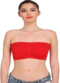 Women's/Girls Non-Padded,Wireless,Seamless Tube Bra Red (Free Size)