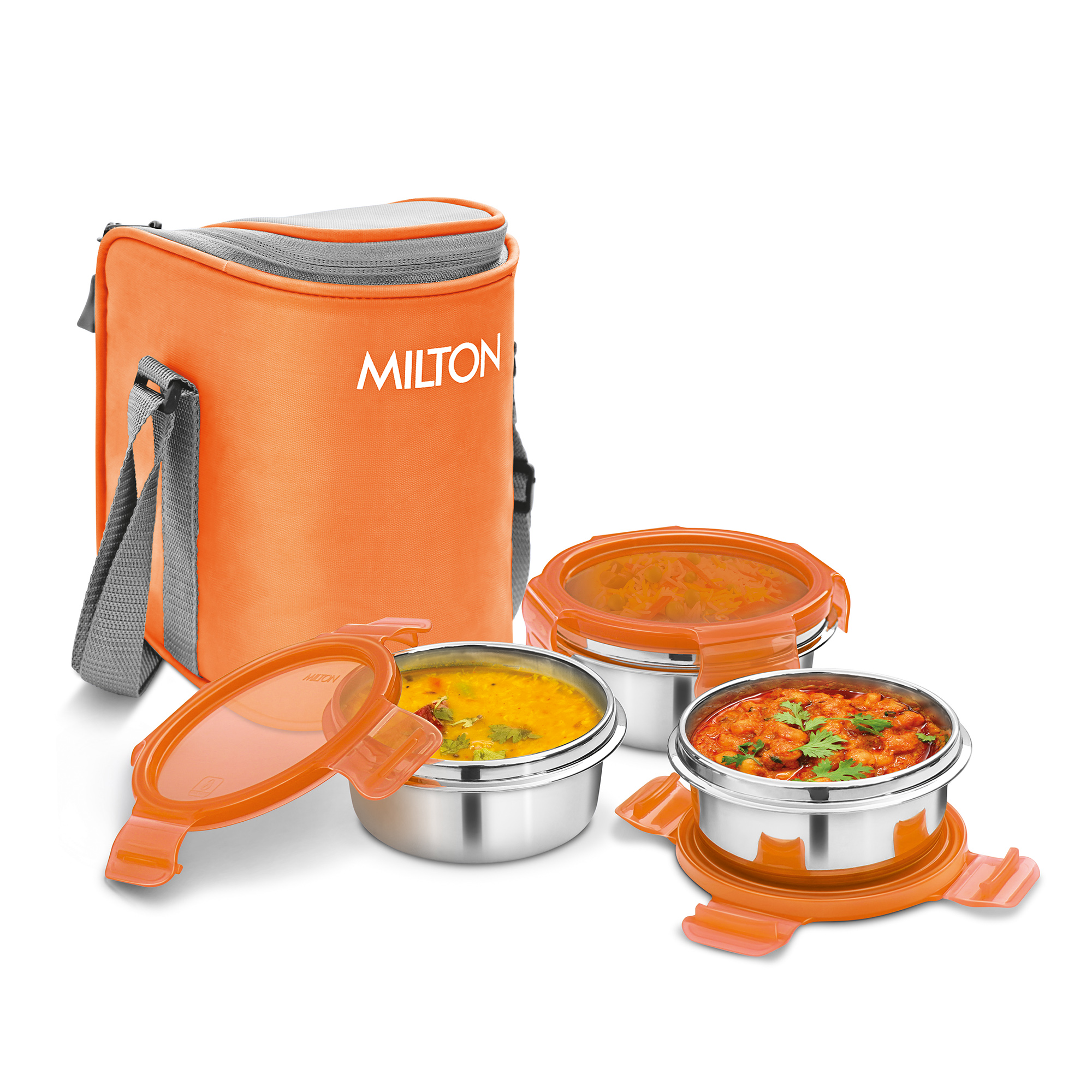 Milton Cube 3 Stainless Steel Tiffin Lunch Box, 300 ml each container, Orange