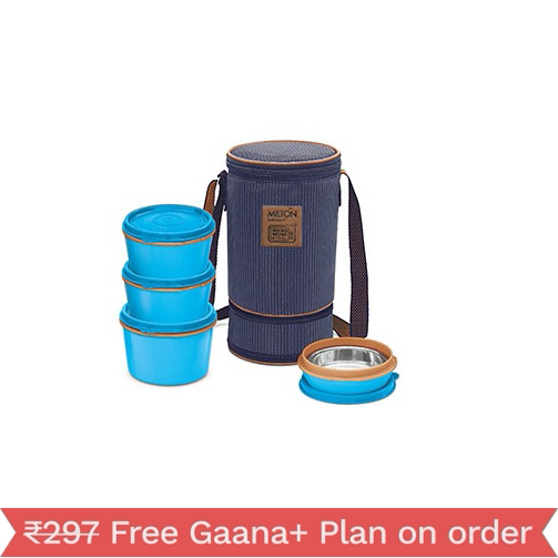 Milton Flexi Insulated Tiffin, 4 Containers, 200, 350, 500 ml, Blue